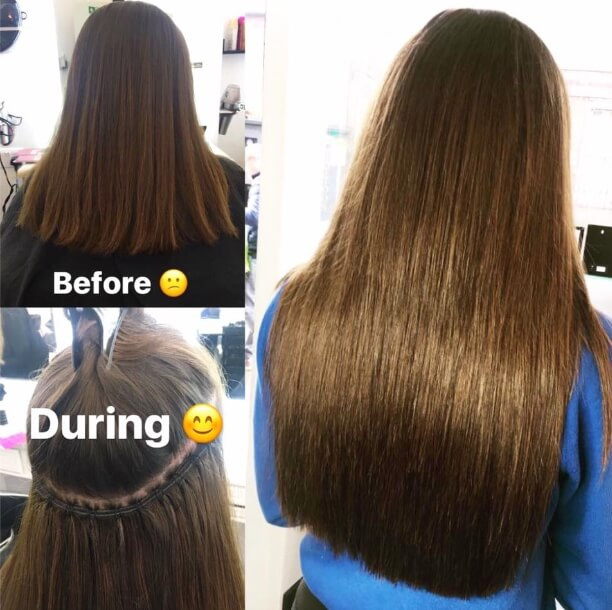 Hair extension weave before and after
