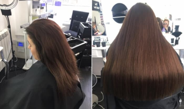 hair extension before and after photographs at MacGregor Hairdressing Edinburgh