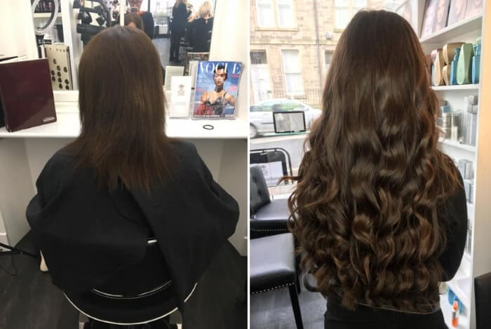 hair extension photographs before and after Edinburgh