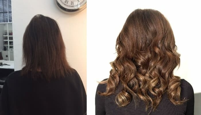 hair extensions before and after at MacGregor Hairdressing Morningside Edinburgh